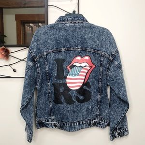 NEW Rolling Stones Acid Wash Denim Jean Jacket S